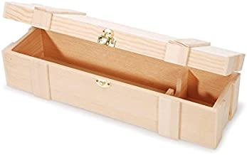 Darice Unfinished Wooden Wine Box, Hinged with Clasp, One Size, Natural
