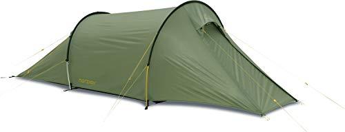 Nordisk - Halland 2 PU, sehr geräumiges 2-Personen-Zelt, windresistent, wasserdicht, einfacher Aufbau, Nylon Rip Stop mit Polyurethan Beschichtung, UV 45+ Filter, Grün/Dusty Green