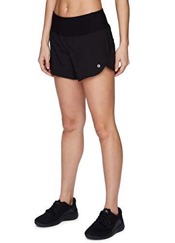 RBX Active Women's Athletic Stretch Woven Quick Drying Running Short with Attached Inner Brief and Zipper Pocket