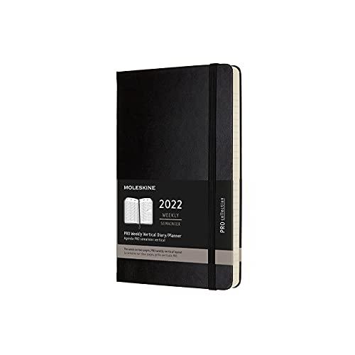 Moleskine - 12-Monatiges Wöchentliches Tagebuch, 2022 Pro-Tagebuch mit Vertikalem Layout und Hardcover, Großes 13x21-Format, Schwarze Farbe