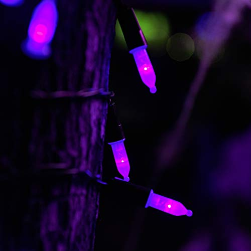 Twinkle Star 50 LED Battery Operated Halloween Lights 16 ft Mini String Lights, Waterproof Tree Lights with 8 Lighting Modes, Indoor Outdoor Patio Garden Party Wedding Decorations, Purple