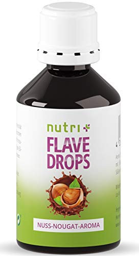 Flavour Drops Nuss-Nougat 50ml - Kalorienfreie Aroma-Tropfen - Geschmackstropfen zum Süßen und Backen - Flavor Drop Vegan - Nussaroma ohne Zucker - Hergestellt in Deutschland