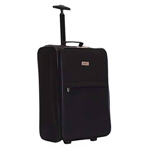 Karabar Cabin Approved 21 Inch Super Lightweight Suitcase 55 x 40 x 20 cm All Parts Included (Black)