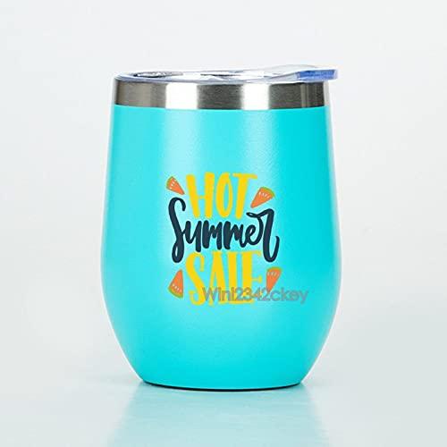 Anyuwerw Vinbehållare 12 oz, varm sommarrea isolerad rostfritt stål resebehållare, blåvinsglas med lock, resor rostfritt vinglas, gåvor