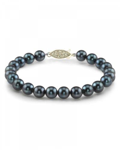 14 K oro 7, 5-8 0 millimeter. Akoya japonés negro pulsera de perlas cultivadas