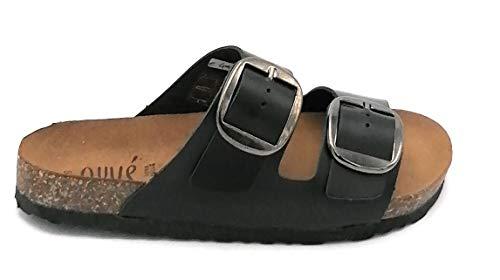 Ovye GSanna Sandale, Leder, schwarz, doppelte Schnalle, W - Schuhgröße 38 EU Farbe Schwarz