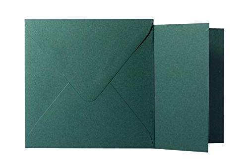 25 Quadratische Tannen Grün Briefumschläge 120g von der Größe 15,5 X 15,5 cm + Klappkarten 240g von der Größe 15 X 15 cm, mit dreieckiger Lasche zum Kleben ohne Fenster