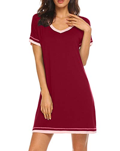 MINTLIMIT Frauen Weich Schlafkleid Bequem Nachtkleid Pjs Pajamas Pyjamas Nightwear Schlafshirt(Size L,Weinrot)