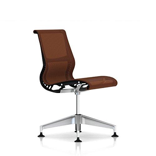 Herman Miller Setu Side Chair: Armless -Fixed Height- Graphite Frame/H-Alloy Base/Chartreuse Lyris (Renewed)