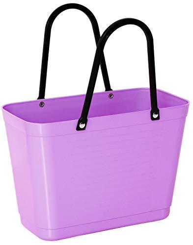 Hinza Green Plastic Kunststofftasche Tasche klein 7,5 L lila mit Henkel 38x32x15cm biobasierter Kunststoff Tragetasche Shopper Shoppingbag Einkaufstasche Einkaufskorb BPA-frei Swedish Design