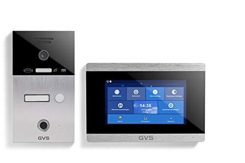 GVS AVS5025A - Videoportero de 4 cables/IP, IP65, RFID, Fingerprint, 1 monitor de 7 pulgadas, aplicación, cámara HD 120°, apertura de puerta, 32 GB de memoria, conmutador PoE, 1 juego familiar