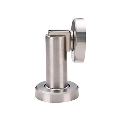GGLL Tope magnético para puerta de acero inoxidable, cierre suave para pared y piso, soporte para puerta de acero inoxidable cepillado satinado con tornillos, color plateado y blanco