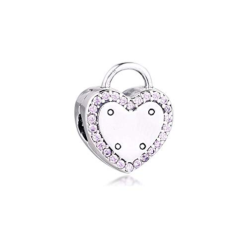LIIHVYI Pandora Charms para Mujeres Cuentas Plata De Ley 925 Joyas Lock Your Promise Clip Fancy Fucsia Pink Brand Gift Compatible con Pulseras Europeos Collars