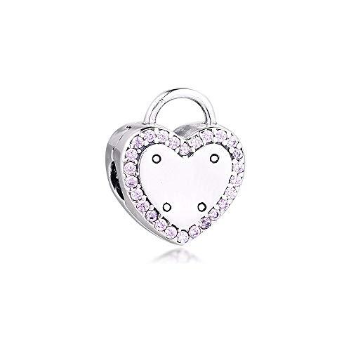 Pandora S925 joyería de plata esterlina Pendant prata esterlina jóias bloqueio sua promessa clipe encanto fantasia fúcsia rosa cz se encaixa marca pulseira original para presente feminino