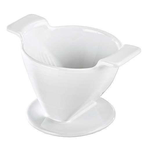 Xavax Porzellan Kaffeefilterhalter (Wiederverwendbarer Porzellanfilter, Filtertütenhalter für Kaffeefilter in Größe 2, Filteraufsatz zum Aufbrühen von Kaffee) weiß