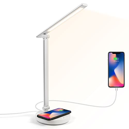 DigHealth Lámpara Escritorio LED con Cargador Inalambrico y USB, Flexo Escritorio Cuidado de Ojos Regulable con 5 Colores y 5 Brillos, Control Táctil, Temporizador de 45min, Energía Eficiente de 5W