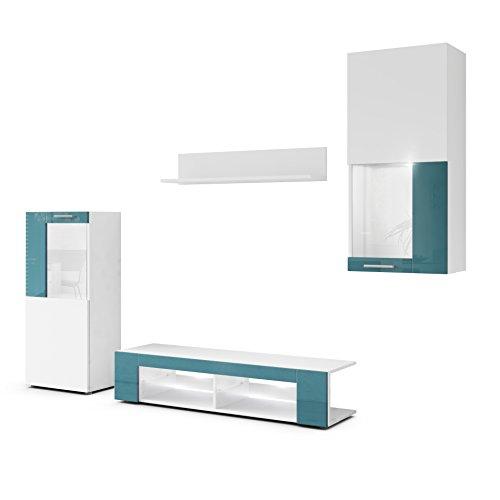 Combinaison Murale Movie, Corps en Blanc Mat/Façades en Blanc Mat avec Une Bordure en Turquoise Haute Brillance avec éclairage LED en Blanc