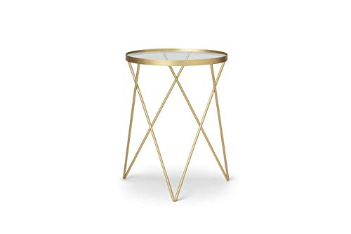 LIFA LIVING runder Beistelltisch aus Metall und Glas in Gold, Goldener Couchtisch, Glastisch, Deko Tisch im Vintage Stil, bis zu 20 kg Belastbarkeit