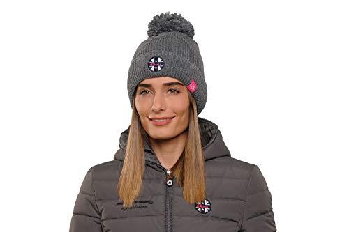 SPOOKS Bea Hat Grey HW 18/19 Mütze grau mit Glitzer Bommel, Sp18_19_Gr.:OneSize