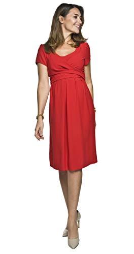Torelle Maternity Wear 2in1 Elegantes und bequemes Umstandskleid mit Stillfunktion, Modell: Lavinia, rot, M