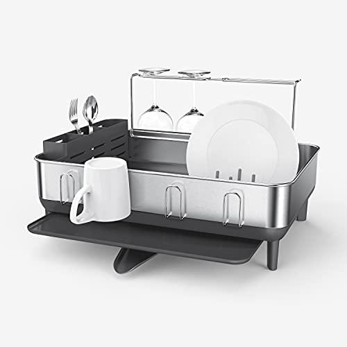 simplehuman Kitchen Dish Drying Rack With Swivel Spout, Fingerprint-Proof Stainless Steel Frame, Grey Plastic, 2021 Model