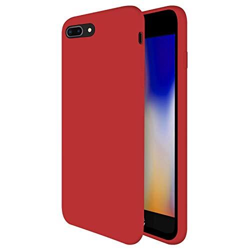 TBOC Funda para Apple iPhone 7 Plus [5.5']- Carcasa Rígida [Roja] Silicona Líquida Premium [Tacto Suave] Forro Interior Microfibra [Protege la Cámara] Resistente Suciedad Arañazos