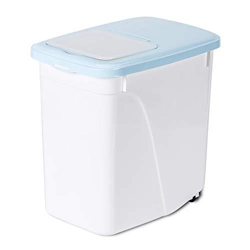 HXCH Contenedor de almacenamiento de alimentos para mascotas, 20 l, triple sellado de alimentos y aperitivos con taza medidora, apto para almacenar alimentos y aperitivos de gatos y perros, azul-5 kg