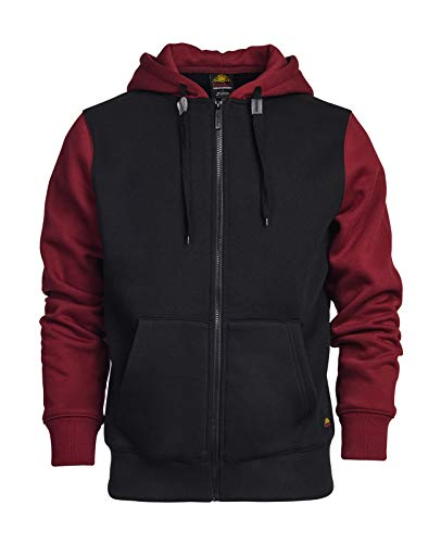 ET TU Zip Up Hoodie - Men's Cotton Blend Heavyweight Two Tone Fleece Zip Up Hoodie Sweatshirt (XL, Black/Burgundy)