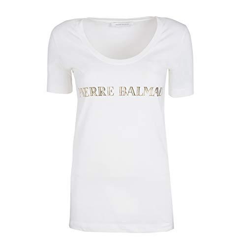 Pierre Balmain Damen Shirt Logo-T-Shirt, Farbe: Weiss, Größe: 42
