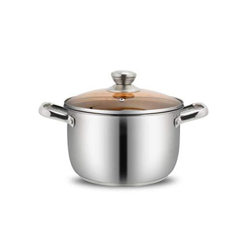 Pot en acier inoxydable Petit pot Pot chaud Pot à deux oreilles Cuisinière à induction Cuisinière à épaississement Gaz de pot (Capacité : 5L)