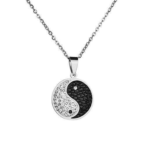 Women Fashion Elegant Vintage Yin-yang Symbol Shiny Rhinestone Men Necklace Jewelry for Party Family Daily Gift - Silver