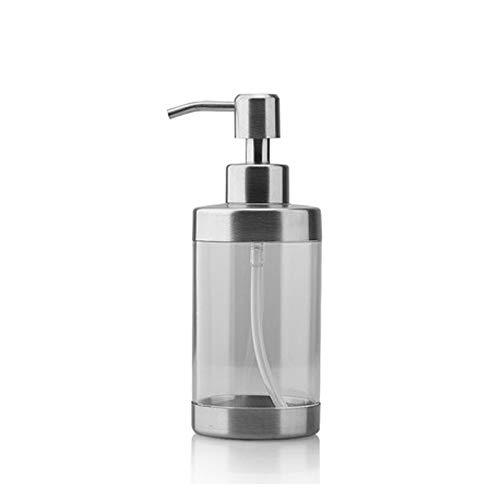 OMYLFQ Dispensadores de loción Botella de jabón de Vidrio Transparente de la Bomba de Acero Inoxidable, dispensador de jabón de encimera, Adecuado para Platos de Cocina, jabón de baño jabón