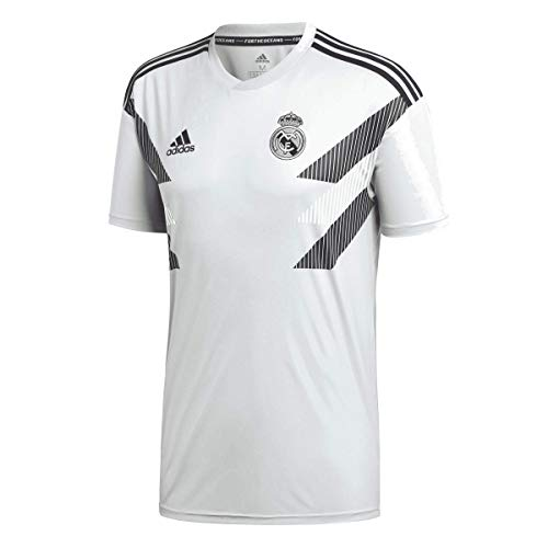 adidas Men's Real Madrid Home Pre-Match Training Soccer Jersey (Small, Stone)