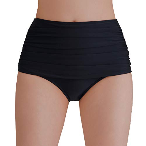 Tournesol Women's Plus Size Swimsuit Bottoms Tummy Control High Waisted Swim Bottom Bathing Suit Tankini Bikini Shorts Black