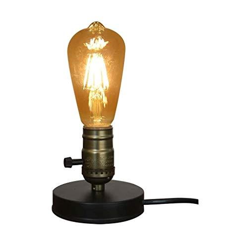 YXX Lámpara de Mesa de Hierro Steampunk Luz de Escritorio Vintage E27 Lámparas de Mesa Base de Hierro Moderno Antiguo Retro Luz de Mesa (Bulbos no incluidos), Luz de Noche, Lámpara de Mesa Retro