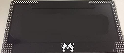 Mickey Kissing Minnie Silhouette - Limited Edition Black with Gems Automotive License Plate Frame