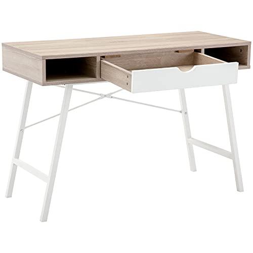 Xueliee Mesa de ordenador con cajón, mesa de oficina en casa, escritorio de 110 cm, cajón blanco de nogal
