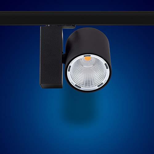 Mextronic 3-Phasen-LED-Strahler für Stromschienen: 30W, Ø 96mm in schwarz (Warmweiß) [Energieeffizienzklasse A+]