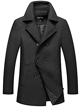 Chouyatou Men s Classic Notched Collar Double Breasted Wool Blend Pea Coat  XX-Large Black
