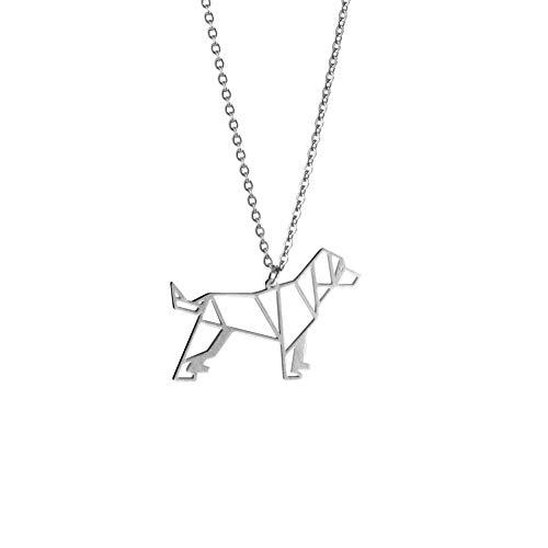 La Menagerie Perro Plata, Joya de Origami & Collar geométrico Plata Mujer - Collar bañado en Plata de Ley 925 con diseño Animal Perro - Joyería para niñas y Mujeres