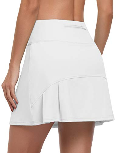 CHICHO Womens Golf Skirt,Girl Pleated Dress School Casual Tennis Drawstring Skort Dry Fit Athletic Pleated Skort with Zip Pockets High Waist Short Stretch Formal Wear White Summer Medium