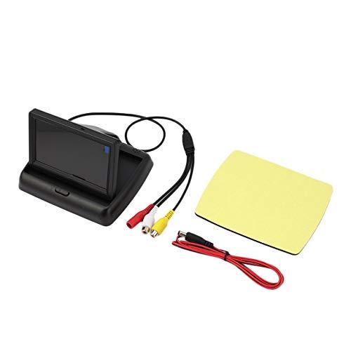 Cámara de monitor universal de escritorio plegable digital HD LCD de 12 V y 4,3 pulgadas Pantalla de visión trasera con marcha atrás con 2 puertos de entrada de video-Negro