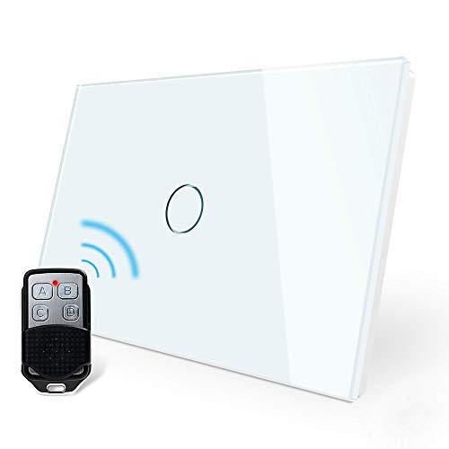 LIVOLO Wireless Remoto Interruttore della Luce con Indicatore LED Touch Switch con Pannello in Cristallo Toccare Interruttore a parete per Illuminazione Domestica,1 Gang 2 Way,C901SR-11