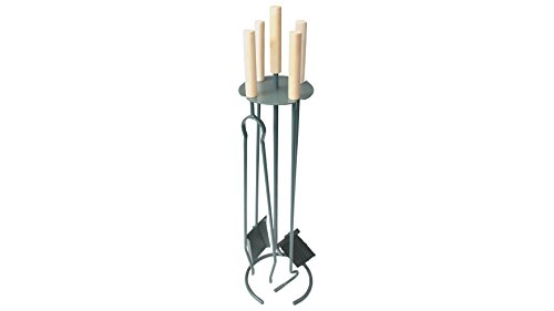 Set camino 4 pezzi rivestito in antracite con attrezzi con maniglie di faggio - composto da porta-attrezzi, paletta, scopino, molla e attizatoio