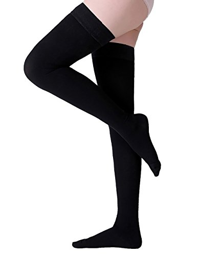 Thigh High Compression Stockings, Closed Toe, Firm Support 20-30 mmHg Gradient Compression Socks with Silicone Band, Opaque, Best for Treatment Swelling, Varicose Veins, Edema, Pregnancy, Black L