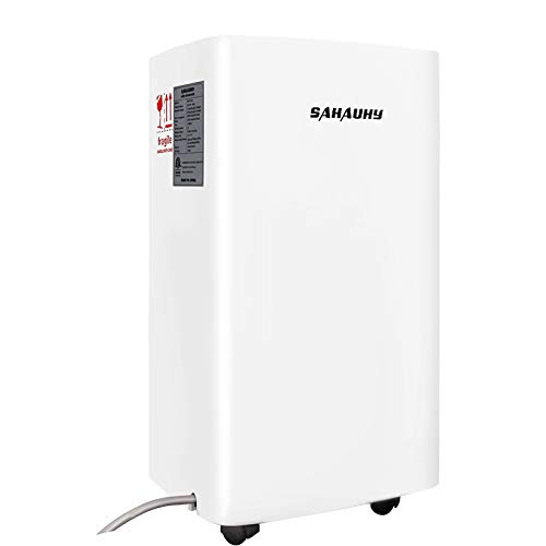 SAHAUHY 1500 Sq.Ft Dehumidifier for Basement,Portable Dehumidifier for Home Garage Bedroom with Drain Hose,0.52 Gallon Water Tank and Wheel