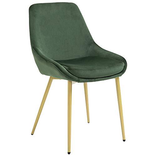 homcom Sedia Velluto Verde Imbottita per Sala da Pranzo Soggiorno o Camera Design Moderno 49x57.5x81cm