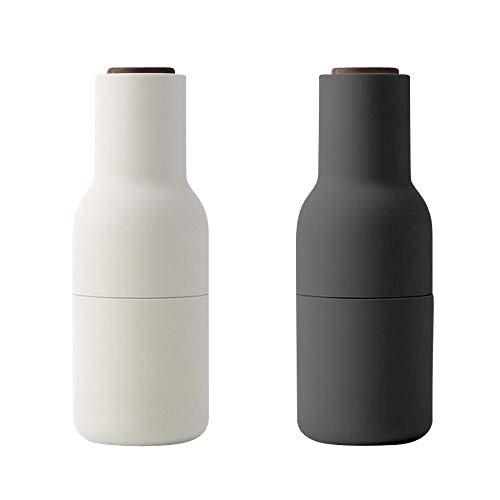 Bottle Grinder Mühle 2er Set Deckel Nussbaum, Esche Carbon Deckel aus Walnuss H 20,5cm Ø 8cm
