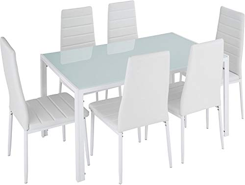 Mesa de comedor y 6 sillas 130 x 70 x 75 cm 6 Conjuntos de muebles de restaurante Resistente Safety Glass Desktop,White