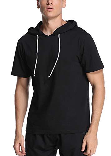 """Joweechy Herren Kurzarm/Lange à""""rmel Hoodie Sports T-Shirt Kurzärmeliger Mode Kapuzen Pullover Einfarbig, Schwarz42, XL"""